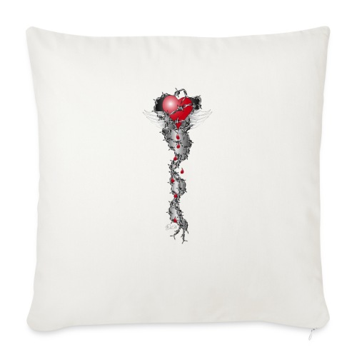 Barbwired Heart 2 - Herz in Stacheldraht - Sofakissenbezug 44 x 44 cm