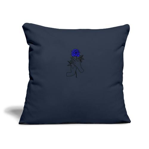 Fiore blu - Copricuscino per divano, 45 x 45 cm