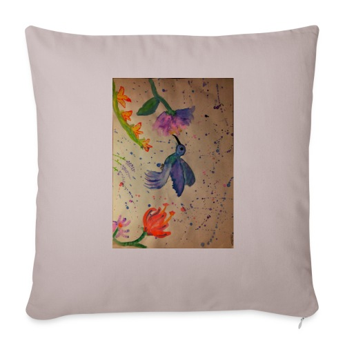 Kolibrie & bloemen - Sierkussenhoes, 44 x 44 cm