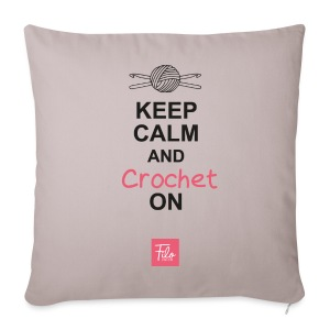 Keep calm and Crochet on - Copricuscino per divano, 44 x 44 cm
