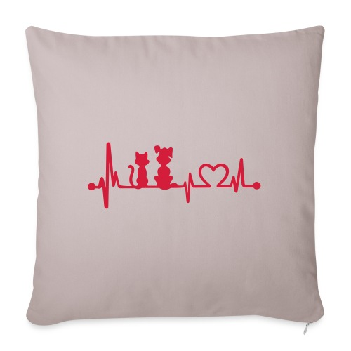Vorschau: dog cat heartbeat - Sofakissenbezug 44 x 44 cm