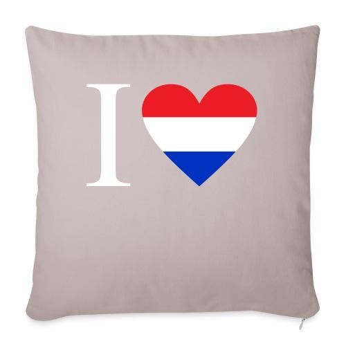 Ik hou van Nederland | Hart met rood wit blauw - Sierkussenhoes, 45 x 45 cm