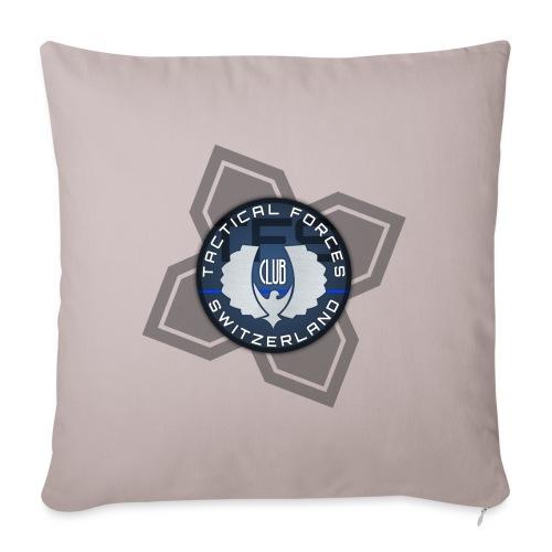 TFS Badge Bleu - Housse de coussin décorative 45x 45cm
