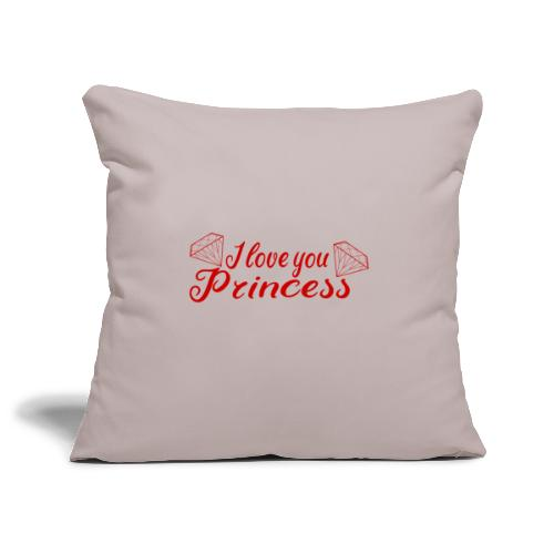 I Love you Princess mit Diamanten - Sofakissenbezug 44 x 44 cm