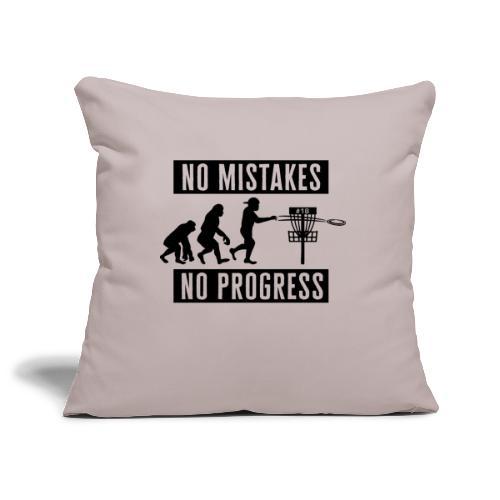 Disc golf - No mistakes, no progress - Black - Sohvatyynyn päällinen 45 x 45 cm