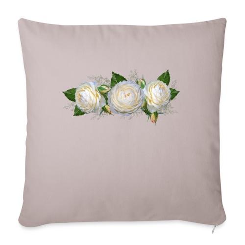 rose Blanche - Housse de coussin décorative 45x 45cm