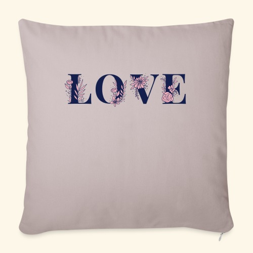 Typographie -LOVE - Fleurie - St Valentin - Housse de coussin décorative 45x 45cm