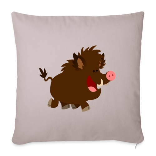 Joyous Cartoon Wild Boar by Cheerful Madness!! - Sofa pillowcase 17,3'' x 17,3'' (45 x 45 cm)