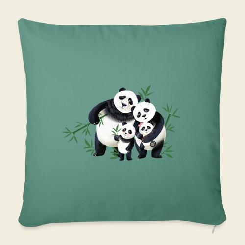 Pandafamilie zwei Kinder - Sofakissenbezug 44 x 44 cm