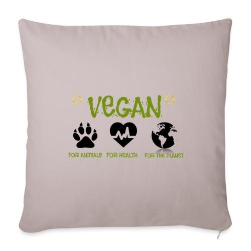 Vegan for animals, health and the environment. - Funda de cojín, 45 x 45 cm