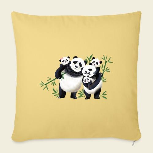 Pandafamilie drei Kinder - Sofakissenbezug 44 x 44 cm