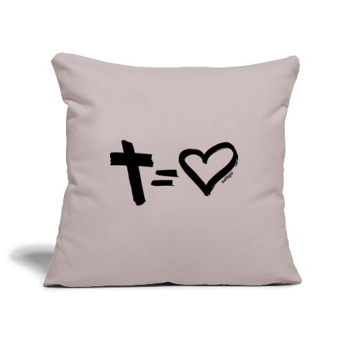 Cross = Heart BLACK // Cross = Love BLACK - Sofa pillow cover 44 x 44 cm