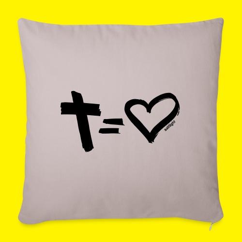 Cross = Heart BLACK - Sofa pillowcase 17,3'' x 17,3'' (45 x 45 cm)