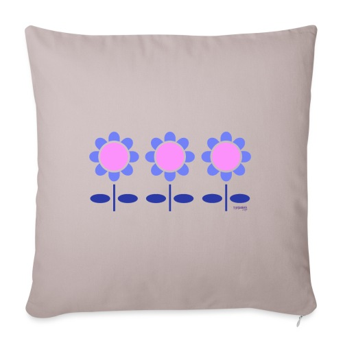 Blue retro flowers - Sohvatyynyn päällinen 45 x 45 cm