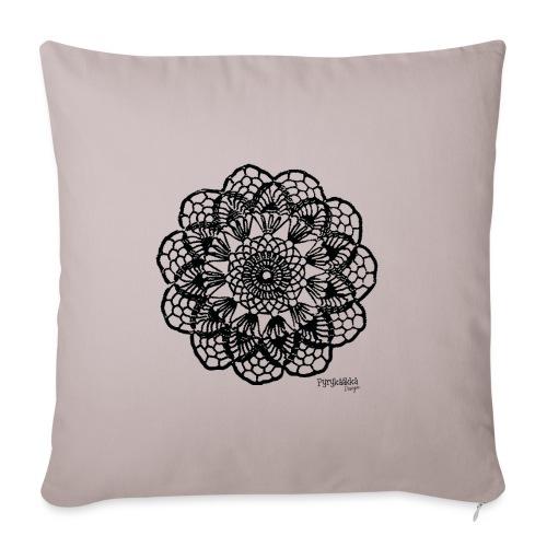 Grannys flower, musta - Sohvatyynyn päällinen 45 x 45 cm