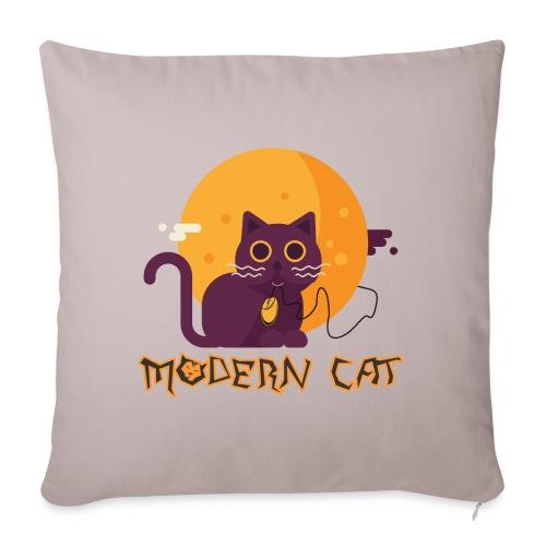 gatto moderno animale topo luna arte animale domestico - Copricuscino per divano, 45 x 45 cm
