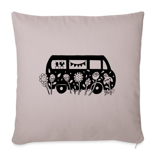 Flower Power Bus Liebe Florale Illustration - Sofakissenbezug 44 x 44 cm