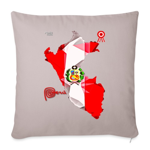 Mapa del Peru, Bandera y Escarapela - Sofa pillowcase 17,3'' x 17,3'' (45 x 45 cm)