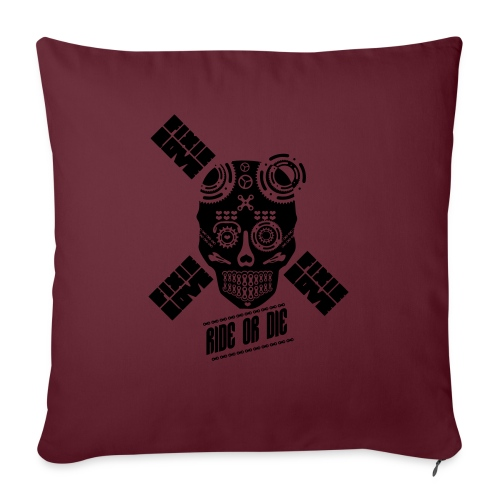 skull riding ride or die - Housse de coussin décorative 45 x 45 cm