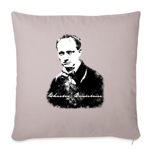 Baudelaire (fond blanc) + signature - Housse de coussin décorative 45x 45cm