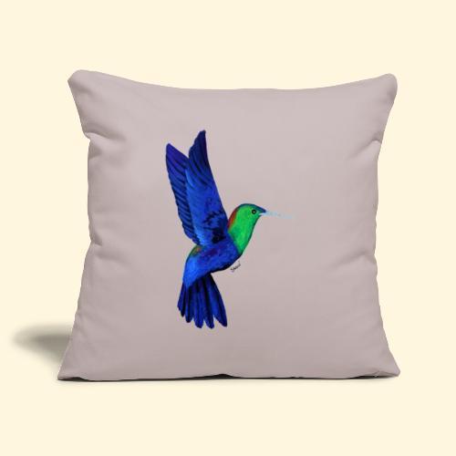 Colibri bleu et vert - Housse de coussin décorative 44x 44cm