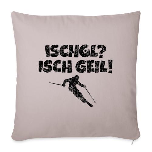 Ischgl Ischgeil (Vintage Schwarz) Ski Skifahrer - Sofakissenbezug 44 x 44 cm