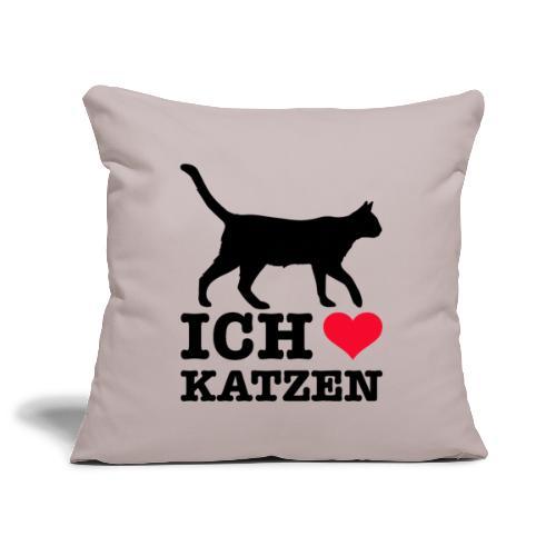Ich liebe Katzen mit Katzen-Silhouette - Sofakissenbezug 44 x 44 cm
