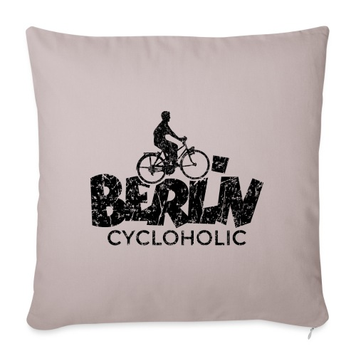 Berlin Cycloholic (Vintage/Schwarz) Fahrradfahrer - Sofakissenbezug 44 x 44 cm
