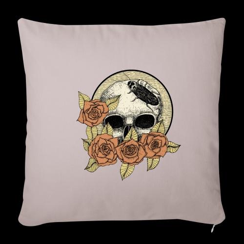Rose et tête de mort - Housse de coussin décorative 45x 45cm