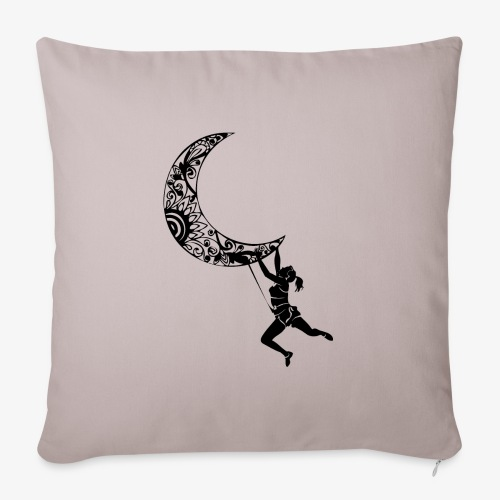 Climbing Woman Girl moon - Climber on the moon - Sofa pillowcase 17,3'' x 17,3'' (45 x 45 cm)