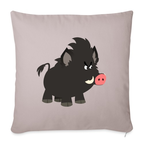 Grumpy Cartoon Wild Boar by Cheerful Madness!! - Sofa pillowcase 17,3'' x 17,3'' (45 x 45 cm)