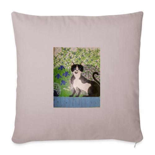 le chat du jardin - Housse de coussin décorative 44x 44cm