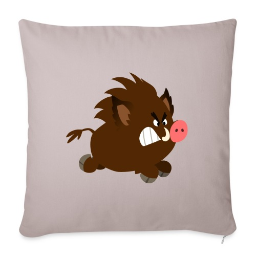 Angry Cartoon Wild Boar by Cheerful Madness!! - Sofa pillowcase 17,3'' x 17,3'' (45 x 45 cm)
