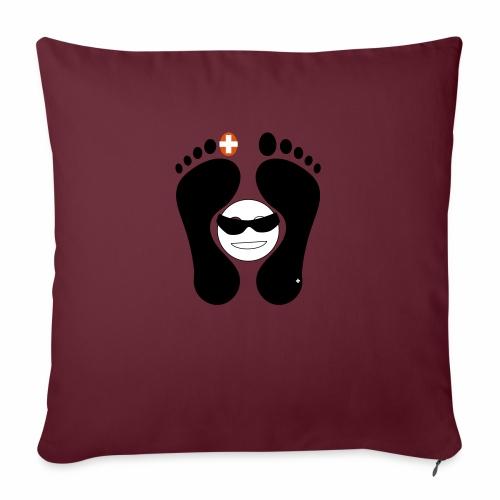 Barfuss-Logo mit coolem Smile - Sofakissenbezug 44 x 44 cm