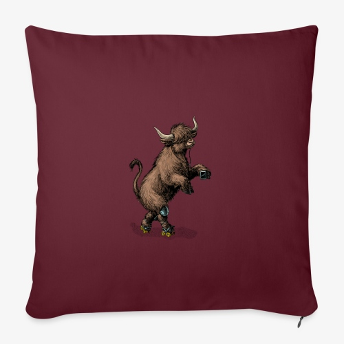 Highland Cow on roller skates - Sofa pillowcase 17,3'' x 17,3'' (45 x 45 cm)