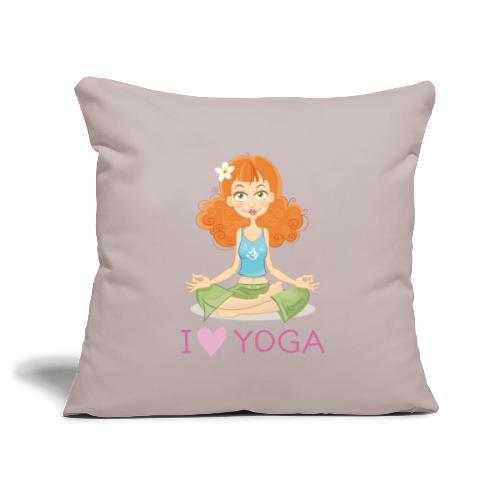 Yoga Lotus Pose Cartoon Girl - Sofakissenbezug 44 x 44 cm