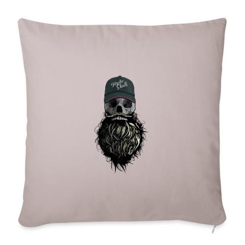tete de mort hipster casquette logo skull barbu cr - Housse de coussin décorative 45x 45cm