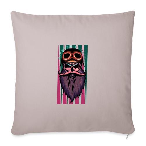 tete de mort hipster crane slull barbe moustache p - Housse de coussin décorative 45x 45cm