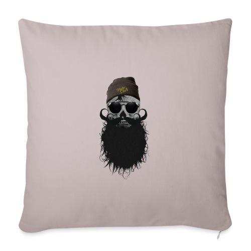hipster skulls tete de mort crane bonnet moustache - Housse de coussin décorative 45x 45cm