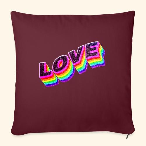 Typo Love Arc en Ciel LGBT - Housse de coussin décorative 45x 45cm