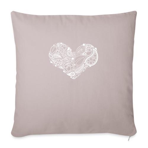 White Leaf Heart Mandala - Sofa pillowcase 17,3'' x 17,3'' (45 x 45 cm)