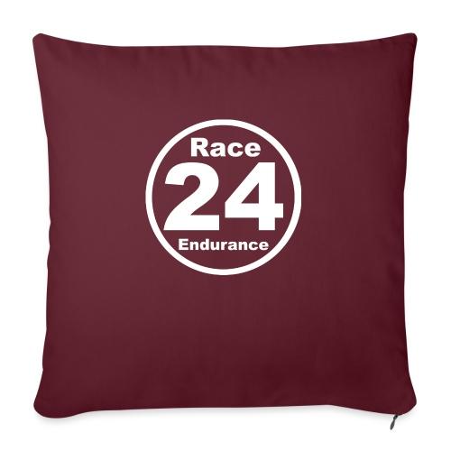 Race24 round logo white - Sofa pillowcase 17,3'' x 17,3'' (45 x 45 cm)