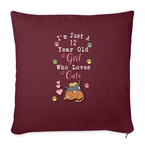 I'm just a 12 year old girl who loves cats - Housse de coussin décorative 45 x 45 cm