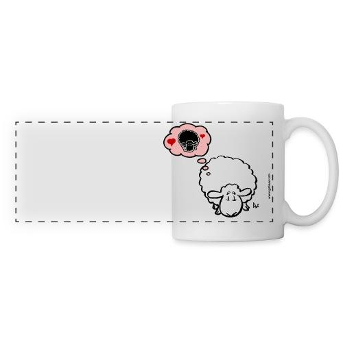 Penser à la brebis (blanc) - Mug panoramique contrasté et blanc
