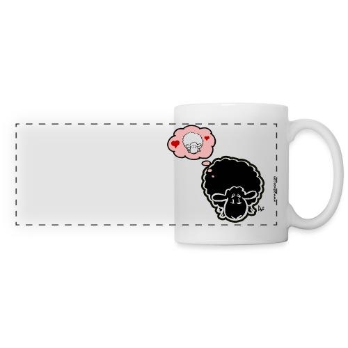 Penser à la brebis (noir) - Mug panoramique contrasté et blanc
