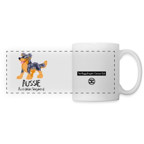 Aussie CartoonClub - Blue Merle & Tan | mug - Panoramic Mug