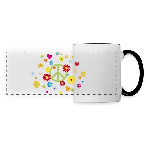 Peacezeichen Blumen Herz flower power Valentinstag - Panoramic Mug