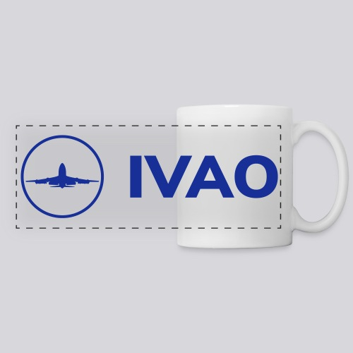 IVAO (Logo bleu complet) - Mug panoramique contrasté et blanc