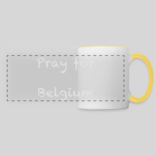 Pray for Belgium - Mug panoramique contrasté et blanc