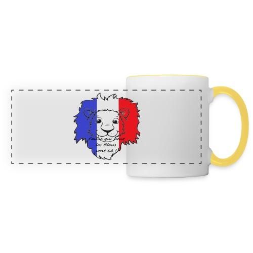 Lion supporter France - Mug panoramique contrasté et blanc